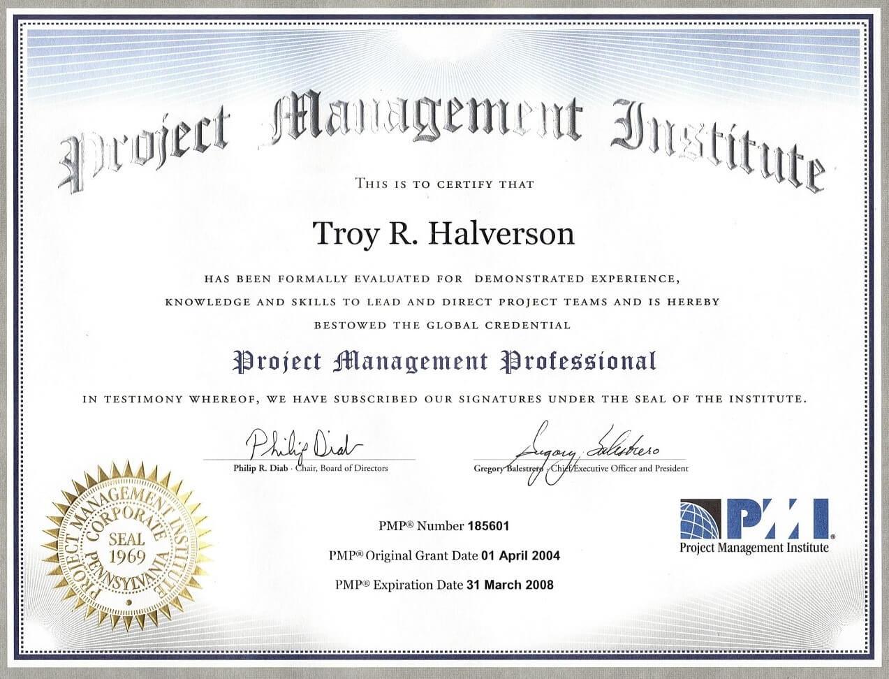 Troy halverson project management professional pmp certification 185601 2004 2008 state of georgia xflitez Image collections